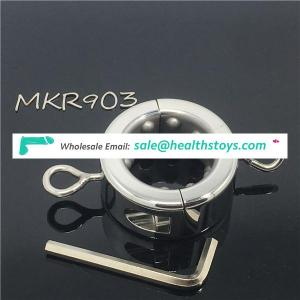Metal stainless steel scrotal weight-bearing ball stretcher fetish sex cock ring
