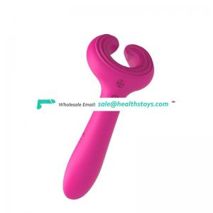 Powerful massage 3heads vibrator fully encapsulated silicone dual ring prong vibrator
