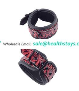 Pu Leather Sexy Ankle Cuffs  With Red Diamond Pattern