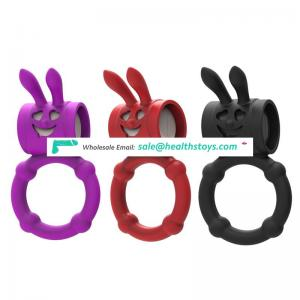 Rabbit ear shape strong vibration penis cock vibrator ring