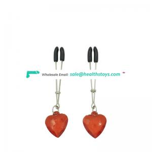 Red heart Stainless steel nipple clips erotic pump-sex female masturbation clamps