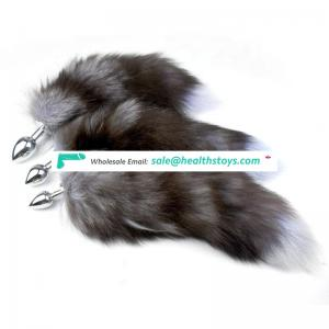 Sexy Toys Metal Fake Fur Fox Dog Tail Anal Plug Butt Plug BDSM middle size Flirt Anus Plug