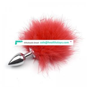 Sexy Toys Metal Fake Fur Fox Tail Anal Plug Butt Plug