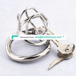 Small Male Chastity Device Stainless steel Cock Cage with Anti-slip Curved Ring