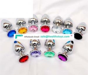 Small Size Metal Crystal Stainless Steel Booty Beads Jewelled Anal Butt Plug for Men Couples