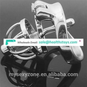 Small Size Stainless steel Cock Lockable Penis Cage plus urethral dilators Male Chastity Device