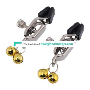 Small gold bell decoration nipple clamps adult game sex clip