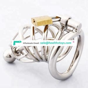 Stainless Steel Chastity Cage with Urethral Sound Catheter Male Chastity Devices Penis Lock