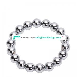 Stainless steel bead metal penis cock ring for male adults sex toy