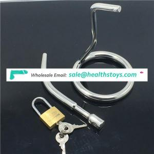 Stainless steel male chastity belt device penis plug catheter sound cock cage penis lock sex toys