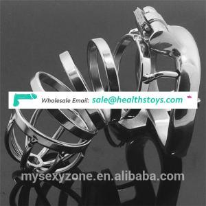 Stainless steel male chastity cage long penis sleeve bondage sex toys for male