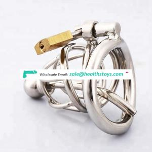 Stainless steel male chastity device adult cock cage with curve cock ring urethral catheter BDSM chastity penis plug