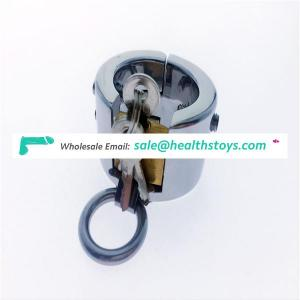 Stainless steel piercing chamber ball stretcher penis lock device Ball weight fetish CBT