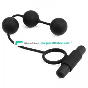 Strong vibration long 3 anal ball cock ring waterproof silicone anal beads 10frequency multi function anal plug cock ring