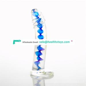 Transparent blue color soft pyrex glass anal dildo sex toys for women