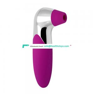 USB Rechargeable Silicone Vibrator 12-frequency vibration G-Spot and Clitoris Stimulator Nipple Sucking Toy for Women
