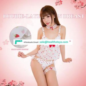 Young ladies sexy underwear lace strawberry sling pajamas nightgown
