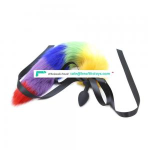 boy sex toys Well Made Long Length Rainbow Colorful artificial Fur Tail with bowknot With Black Silicone Butt Stopper Anal plug