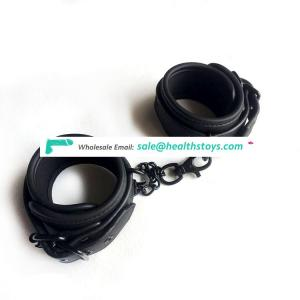 soft and comfortable matt black PU leather with neoprene material double layer Handcuffs