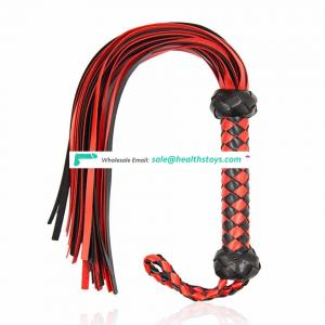 Adult Games spanking suede leather led with Abundant tails red&black handmade flirt whip