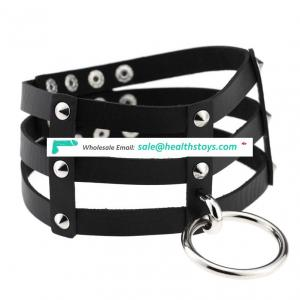 Adult Sex Toys Slave Bitch Women Leather Bondage Collar with Ring Steel