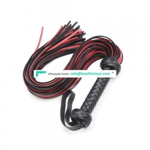 Black-Red Fringed Leather Bull Whips for Sex Games