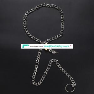Bondage Fetish Play Chain Collar with Chain and Leash Set for Woman
