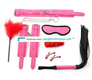 Bondage tight pink furry handcuffs shackles Female SM adult sex toys