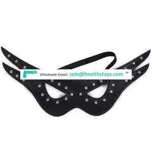 Hot Selling Adult sm game Sexy Black leather Blindfold Cover face Eye Patch Mask