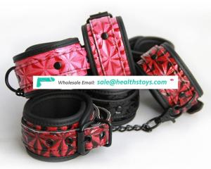 Hot Selling Buckle Chain Fetish Leather Restraint Man Girl Women Couple Sex Toys Product Bdsm Kit Bondage Ankle Cuffs Handcuffs