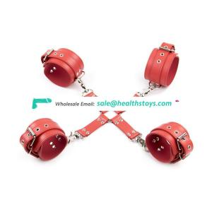 Leather Back Hand and Foot Shackles Binding Female Couple Sex Leather Handcuff Bondage Sex Toys