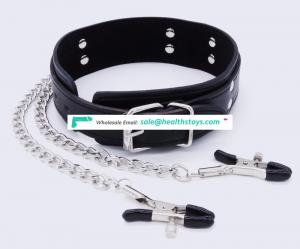 Necklace Bondage Leather Collar with Nipple Breast Clamp