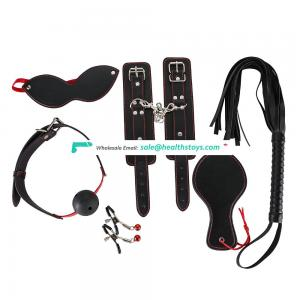 New black + red line puLeathe Sexy Bondage Kit  Set Adult game toy Handcuffs Mouth plug Leather whip  beat