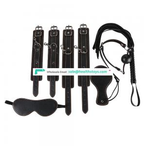 New black soft  line puLeathe Sexy Bondage Kit  Set Adult game toy Handcuffs Mouth plug Leather whip  beat
