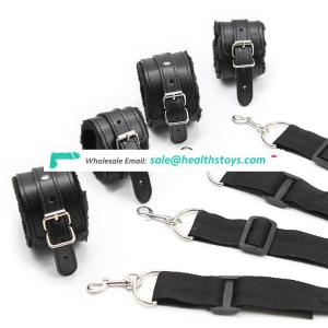 OEM Acceptable Black Polyester Sex Handcuff Toys for Couples BDSM Use