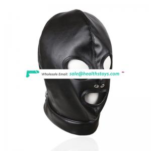 Sexy Head Cover Leather Binding Leaky Mouth Open Eye Mask Sex Face Mask