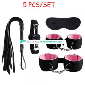 Sexy Product Bondage Kit Set 5 Pcs BDSM Set Adult Games Toys HandCuffs Footcuff Whip Plug Blindfold Couples Erotic Toys