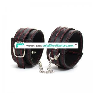 Top Quality Fetish Adult Games Leather Handcuffs black bondage handcuffs