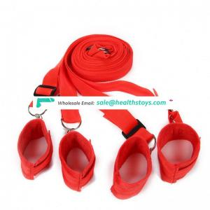 Under Bed Restraint System with Faux Fur Cuffs red Hidden red Bondage Set