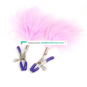 Women Useful SM Games Steel Female Nipple Clamp with Feather